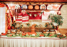 Cossack table. With many different elements Royalty Free Stock Image