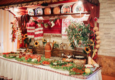 Cossack table. With many different elements Stock Photos