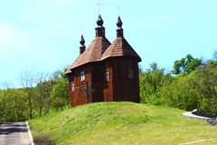 Cossack temple. Brown wooden church of the Holy Virgin in Kanev country Ukraine Stock Image