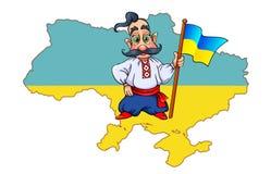 Cossack with Ukrainian flag on map background of Ukraine Royalty Free Stock Photos