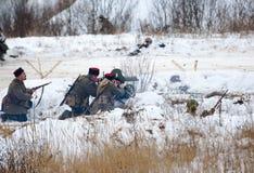 Cossacks fires machine gun Stock Photo