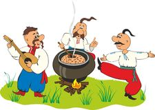 Cossacks having lunch on the grass royalty free illustration