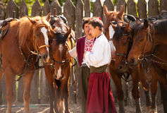 Cossacks with horses Royalty Free Stock Images