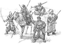 Cossacks illustration. Illustration with cossacks in old costums Stock Image