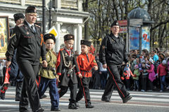 Cossacks at the parade in honor of the victory Royalty Free Stock Photography