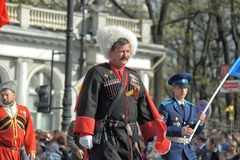 Cossacks at the parade in honor of the victory Stock Image