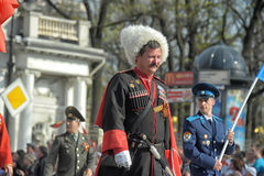 Cossacks at the parade in honor of the victory Stock Photography