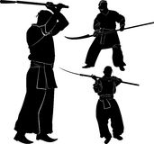 Cossacks. Silhouette of a Cossack with a saber on a white background Royalty Free Stock Image