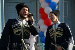 Cossacks sing the national Cossack song. Pyatigorsk, Russia. Pyatigorsk, Russia - November 4, 2017: Cossacks sing the national Cossack song. Festival of national Stock Image