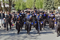 The Cossacks of the Terek Cossack Army. At the parade May 9, 2013. Pyatigorsk stock photo