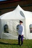 Cossaco com uma barraca Foto de Stock Royalty Free