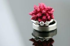 Cosse rouge de graine sur des boucles de mariage Photo stock