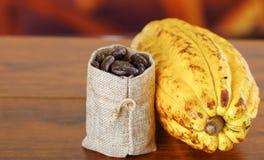 Cosses et haricots frais de cacao dans un petit sac au-dessus d'un fond en bois Image stock