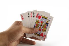 Cosses royales d'instantané de casino de cartes de jeu Photo libre de droits