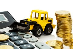 Cost accounting in the construction industry. And the construction industry. higher higher prices in road construction and in residential construction Stock Image