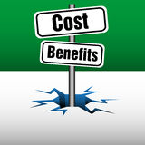 Cost and benefits plate Stock Photo