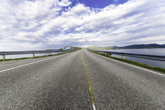 Cost Bridge in Norway. Some shots with traffic on a curved coast bridge in Norway Stock Photography