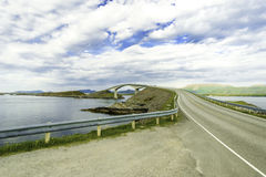 Cost Bridge in Norway. Some shots with traffic on a curved coast bridge in Norway Stock Photo