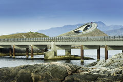 Cost Bridge in Norway. Some shots with traffic on a curved coast bridge in Norway Stock Photos