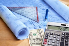 Cost calculation on house design Stock Images