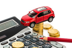 Cost of car. with calculator Stock Photo