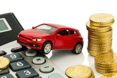 Cost of car. with calculator Royalty Free Stock Image
