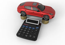 Cost of car concept. 3D rendered illustration for the cost of a car concept. The whole composition is  on a white background with shadows Stock Image