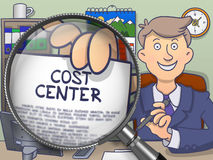 Cost Center through Magnifying Glass. Doodle Style. vector illustration
