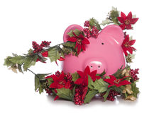Cost of christmas piggy bank Royalty Free Stock Photo
