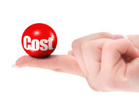 Cost concept on finger. Shallow DOF, there is no infringement of trademark copyright Stock Photo