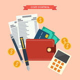 Cost control concept. Flat style vector illustration Stock Images