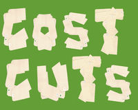 Cost Cuts Letters From Tags Stock Image