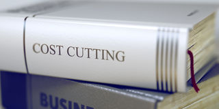 Cost Cutting - Book Title. 3D. Business Concept: Closed Book with Title Cost Cutting in Stack, Closeup View. Cost Cutting Concept on Book Title. Cost Cutting Stock Image