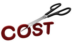 Cost cutting concept. Scissors cutting the word cost. The composition is isolated on a white background Stock Images