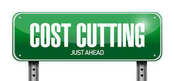 Cost cutting road sign illustration design. Over white Royalty Free Stock Photo