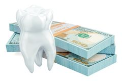 Cost of dental treatment concept, 3D rendering. Isolated on white background Stock Photos