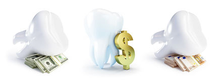 Cost of dental treatment. On a white background 3D illustration Stock Photos