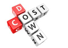 Cost down. A render artwork with white background Royalty Free Stock Image