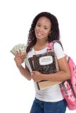 Cost of education student loan and financial aid. Education fundraiser financial aid Ethnic black African-American college student holds pile 20 (twenty) dollar Royalty Free Stock Photo
