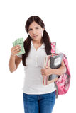 Cost of education student loan and financial aid. Ethnic Hispanic college student with notebook and backpack holds pile 100 (one hundred) dollar bills happy Stock Photography