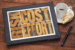 Cost, effort, risk - business concept. A word abstract in vintage wood letterpress printing blocks on a digital tablet with cup of coffee stock photos