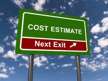 Cost estimate sign. A green cost estimate sign with the sky in the background stock illustration