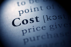 Cost. Fake Dictionary, Dictionary definition of the word Cost. including key descriptive words Royalty Free Stock Photography