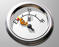 Cost of fuel. Illustration of fuel gauge showing low on fuel and low on cash Stock Photo