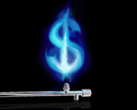 The cost of gas. Illustration of a blue gas flame in the form of a dollar symbol