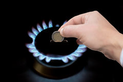 Cost of gas. The cost of natural gas more expensive Stock Photography