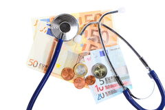Cost of health care: stethoscope on euro money Royalty Free Stock Photography