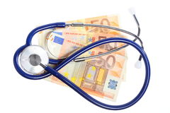 Cost of health care: stethoscope on euro money Stock Image