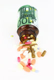 Cost of Healthcare. Pills come out from a medicine bottle Stock Images