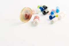 Cost of healthcare. Detail of medical pills near the euro coin on white background Royalty Free Stock Images
